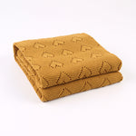 Mustard (Yellow Brown) Hearts 100% Cotton Cellular Blanket Ideal for Prams, cots 100cm x 80cm