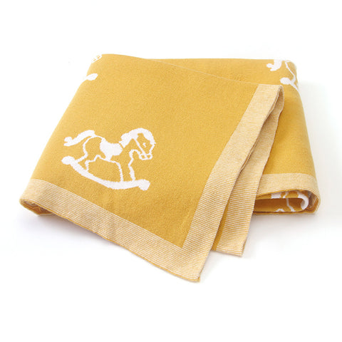 Rocking Horse Yellow 100% Cotton Cellular Blanket Ideal for Prams, cots, car Seats and Moses Baskets. 100cm x 80cm