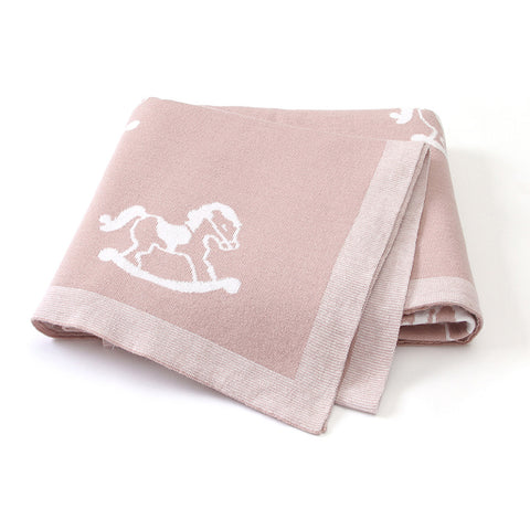 Rocking Horse Pink 100% Cotton Cellular Blanket Ideal for Prams, cots, car Seats and Moses Baskets. 100cm x 80cm