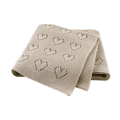 Tan Hearts 100% Cotton Cellular Blanket Ideal for Prams, cots 100cm x 80cm