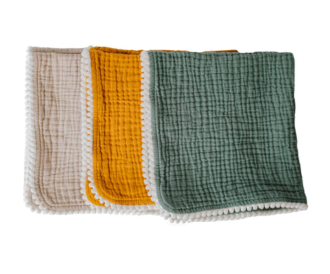 Pompom 100% Organic Cotton Baby Muslins Set of 3-40cm x 40cm Squares (Mustard, Gray, Blue Green )