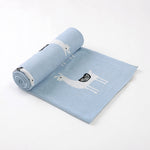 Llama Blue 100% Cotton Cellular Blanket Ideal for Prams, cots. 100cm x 80cm