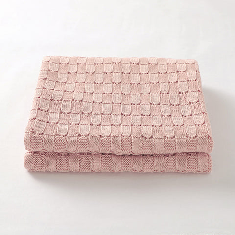 Pink Weave 100% Cotton Cellular Blanket Ideal for Prams, cots 100cm x 80cm