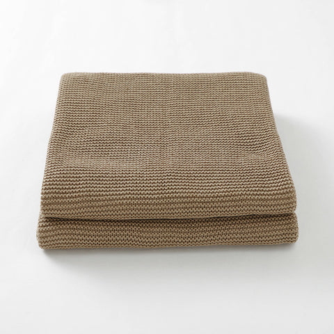 Khaki Classic Knit 100% Cotton Cellular Blanket Ideal for Prams, cots 100cm x 80cm