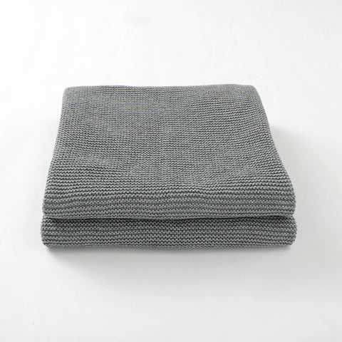 Grey Classic Knit 100% Cotton Cellular Blanket Ideal for Prams, cots 100cm x 80cm