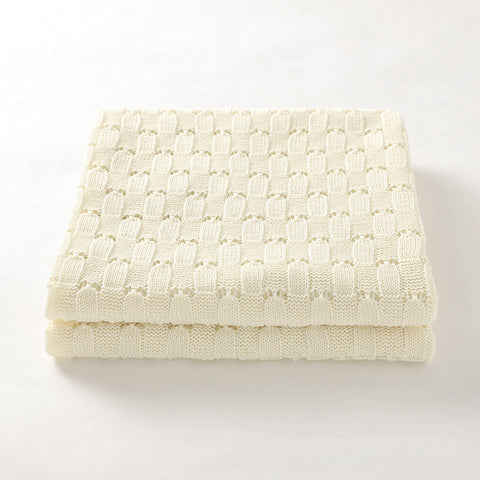 Cream Weave 100% Cotton Cellular Blanket Ideal for Prams, cots 100cm x 80cm