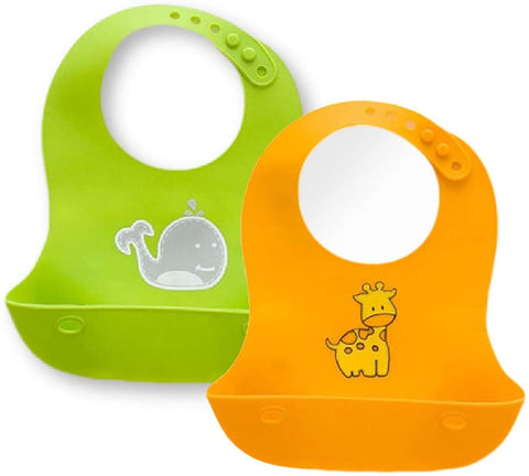 Waterproof Soft Silicone Baby Bibs - Green & Yellow