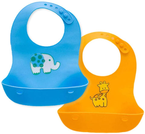 Waterproof Soft Silicone Baby Bibs -Blue & Yellow