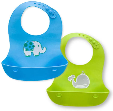 Waterproof Soft Silicone Baby Bibs - Blue & Green