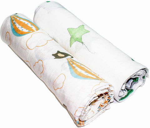 Elephants Bamboo/Cotton Muslin Blanket Set 120cm x 120cm