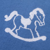 Rocking Horse Blue 100% Cotton Cellular Blanket Ideal for Prams, cots, car Seats and Moses Baskets. 100cm x 80cm