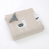 Llama Cream 100% Cotton Cellular Blanket Ideal for Prams, cots. 100cm x 80cm