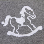 Rocking Horse Grey 100% Cotton Cellular Blanket Ideal for Prams, cots, car Seats and Moses Baskets. 100cm x 80cm