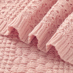 Pink Knitted 100% Cotton Cellular Blanket Ideal for Prams, cots 100cm x 80cm