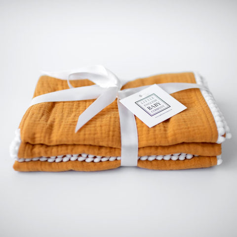 Pompom 100% Organic Cotton Baby Muslins Set of 3-40cm x 40cm Squares (Mustard Yellow)