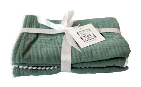 Pompom 100% Organic Cotton Baby Muslins Set of 3-40cm x 40cm Squares (Blue Green)