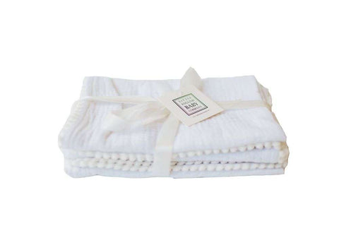 Pompom 100% Organic Cotton Baby Muslins Set of 3-40cm x 40cm Squares (Pure White)