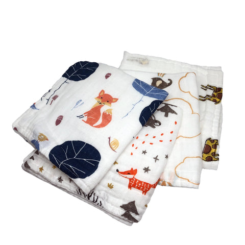 Animal Friends Wash Cloths Set of 4, 100% Cotton Cloths