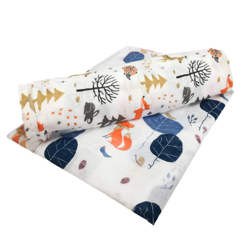 Foxes Bamboo/Cotton Muslin Blanket Set 120cm x 120cm