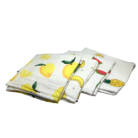 Fruit Wash Cloths Set of 4, 100% Cotton Cloths