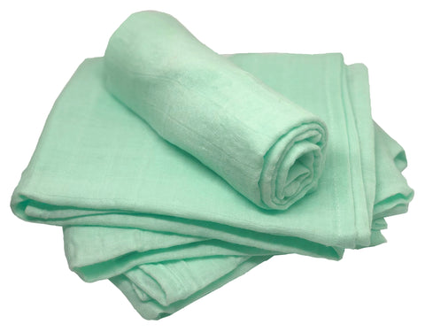 Muslin Squares - Light Green - 100% Cotton - Pack of 4