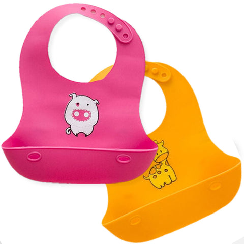 Waterproof Soft Silicone Baby Bibs - Pink & Yellow