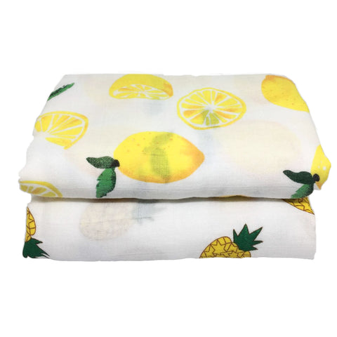 Lemons & Pineapples Ultrasoft Bamboo/Cotton Muslin Blanket Set. 120cm x 120cm