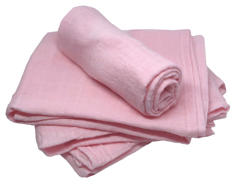 Muslin Squares - Pink - 100% Cotton - Pack of 4