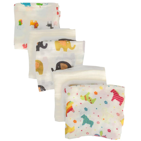 Rainbow Friends Baby Muslins Squares - Set of 4 Size 60cm x 60cm