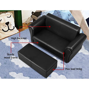 Artiss Kids Sofa Armchair Footstool Set Children Lounge Chair Couch Double Black