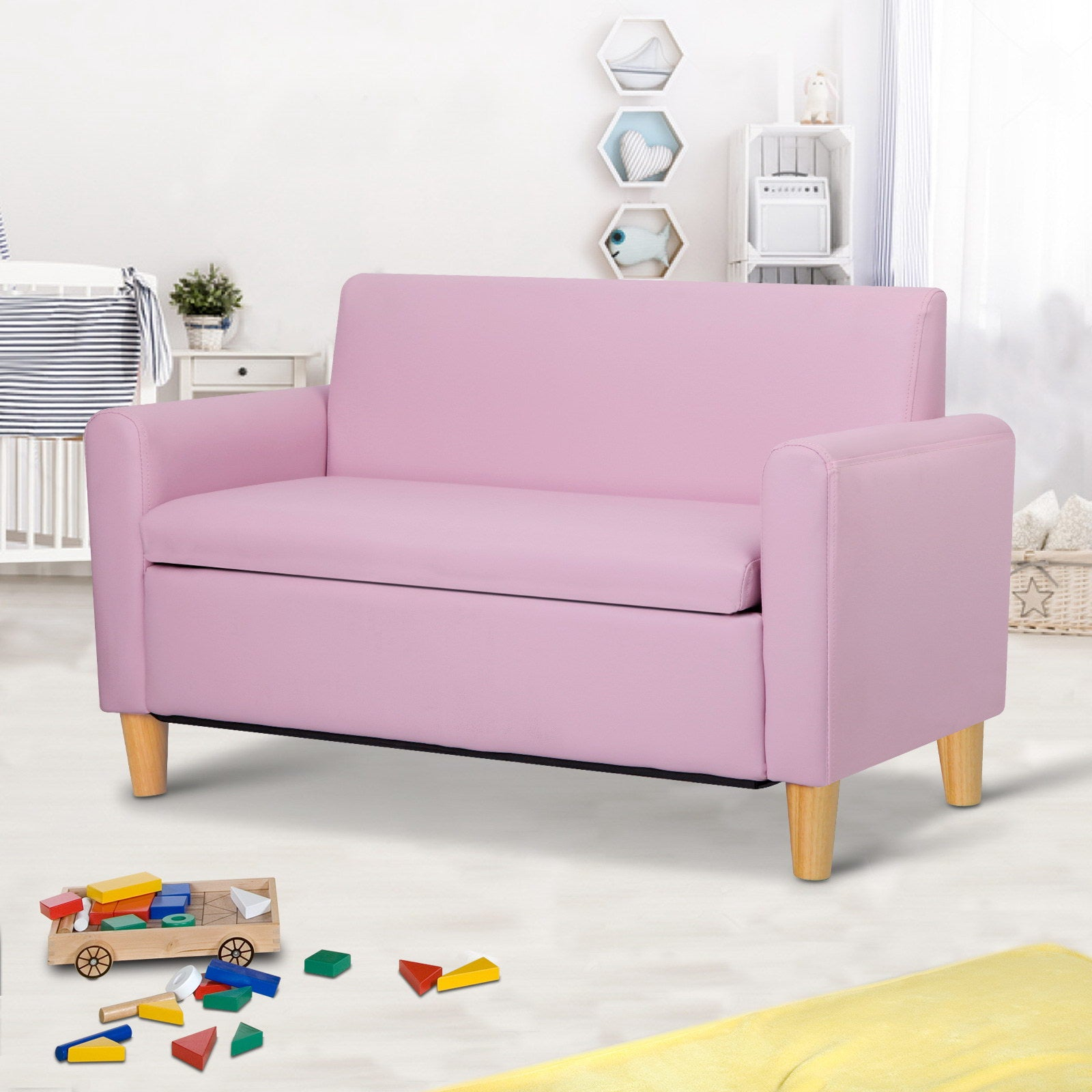 Artiss Kids PU Leather Double Armchair - Pink