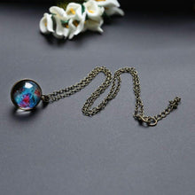 Elegant Double Sided Glass Pendant Necklace