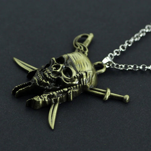 Vintage Charm Skull Halloween Pendant Necklace