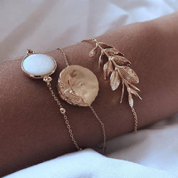 Bohemian Gold color Moon Leaf Crystal Opal Open Bracelet