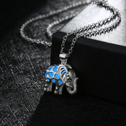 Geometric Hollow Tibetan Elephant Pendant Necklace
