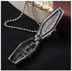 Stainless Steel Coffin Skull Halloween Necklace