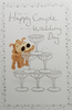 Wedding Card - Cute Dogs & Pyramid of Champagne Glasses
