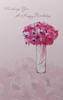 Birthday Card - General Female / A Beautiful Pink Flower Bouquet In A White Vase