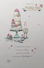 Wedding Card - Wedding Cake with Pink Roses & Champagne