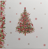 Christmas Card - Mum & Dad/ Decorated Christmas Tree & Sparkly Red Border