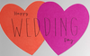Wedding Card - General /  Pink And Orange Hearts On White Front