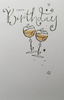 Birthday Card - General / Two Glasses Of Champagne & Swirls Font