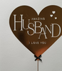 Anniversary Card - Husband / Gold Heart Balloon & Black Bow