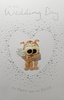 Wedding Card - Cute Dog Teddies Surrounded by Little White Hearts
