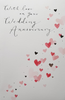 Anniversary Card - On Your Anniversary / Pink & Red Hearts Floating Up From A Corner