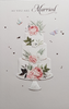 Wedding Card - Elegant Wedding Cake With Pink Flowers