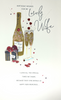 Birthday Card - Wife / Sticked Hearts & Fizzing Champagne