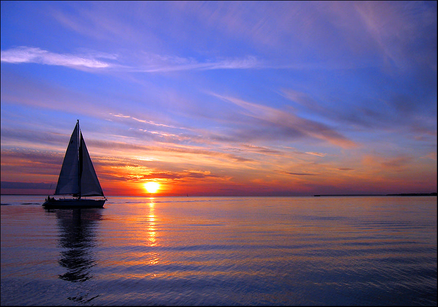 14806795 Sunset sailing , available in multiple sizes