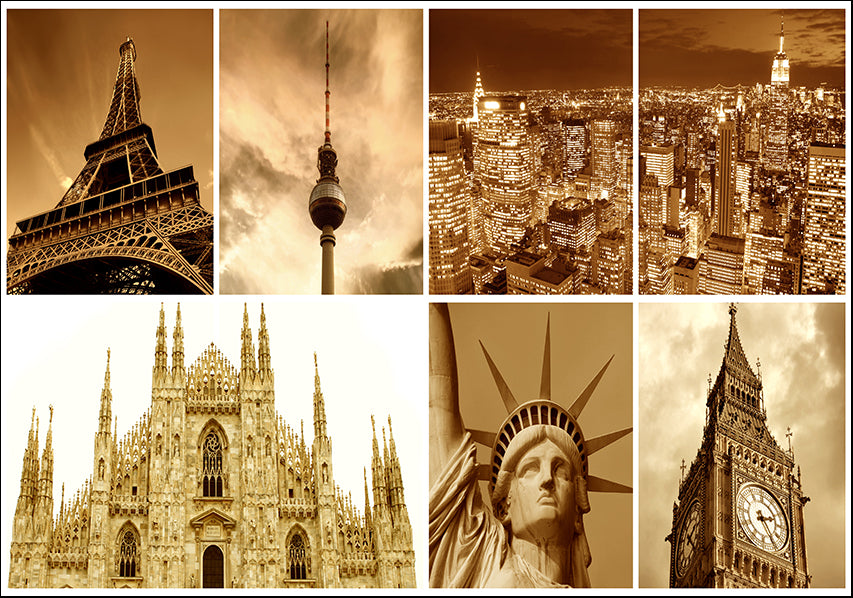15261700 Famous landmarks Montage, available in multiple sizes