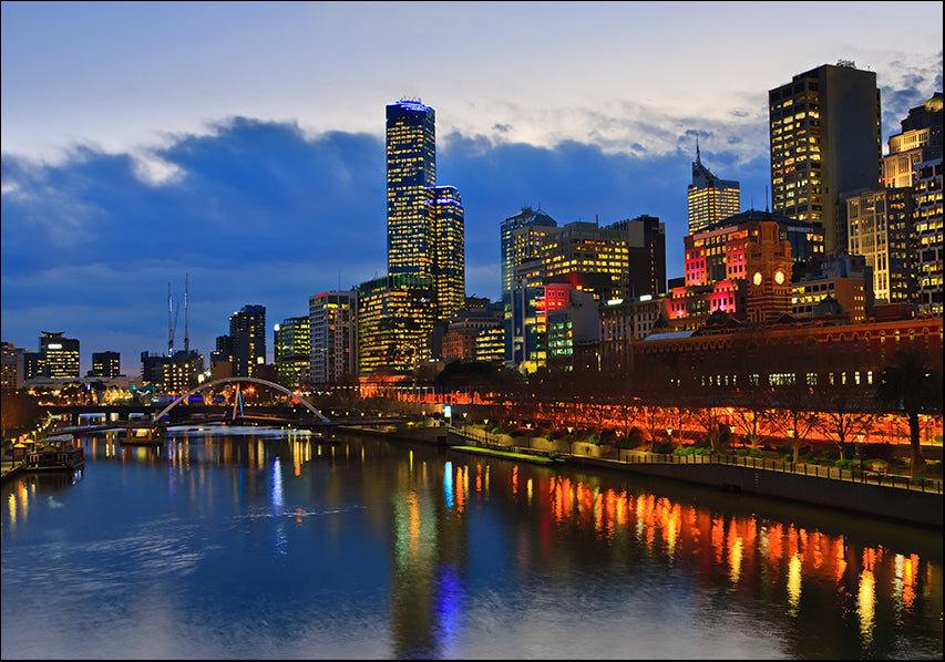 17944869 Melbourne along the Yarra River at Night, available in multiple sizes